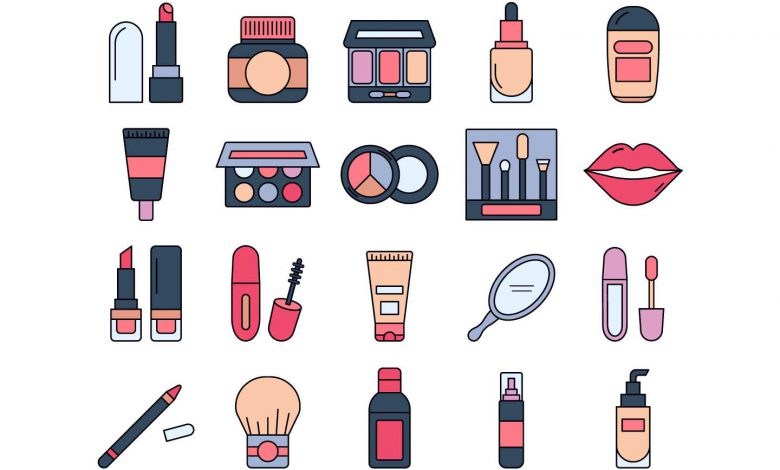 makeup stuff and cosmetics in white background