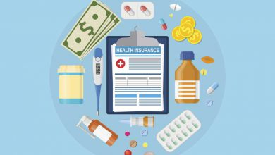 Health insurance form, some medicines like capsules and tablets and money lying on a blue counter
